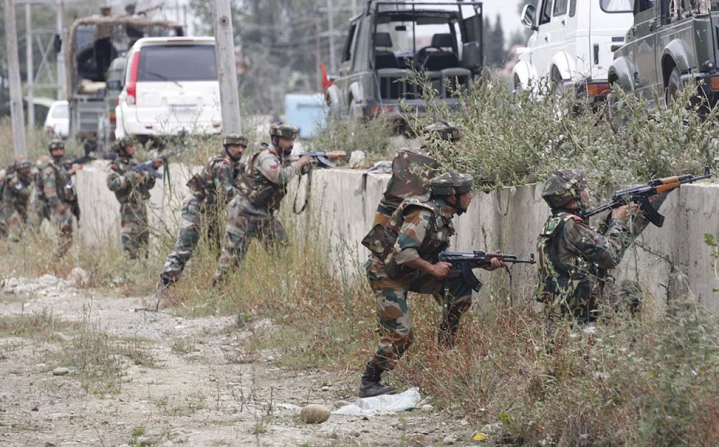 Soldiers from the Army's Rashtriya Rifles combating insurgents in the valley
