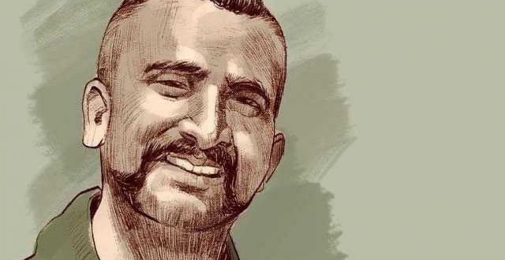 Digital Sketch of Wing Commander Abhinanadan