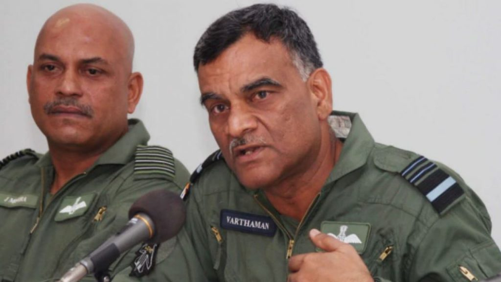 Air Marshall Sinhakutty addressing the press during his sons capture
