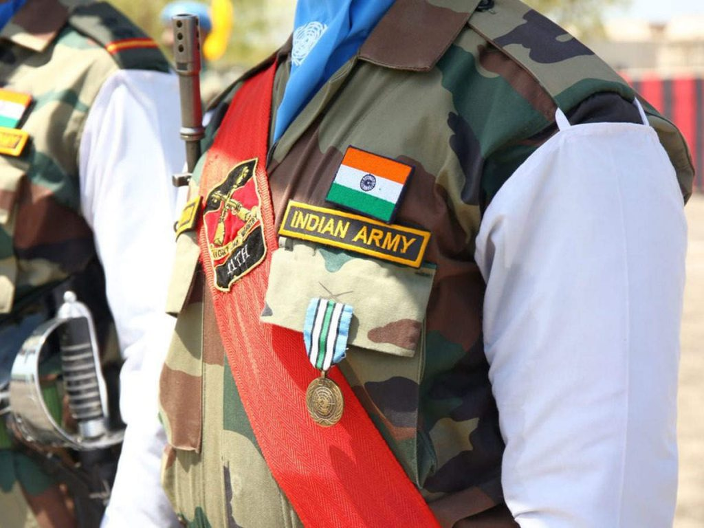 Indian soldiers receiving awards for peacekeeping mission in South Sudan
