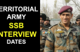 TERRITORIAL ARMY SSB INTERVIEW DATES