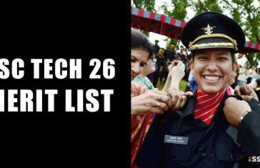 SSCW Tech 26 Merit List OTA Chennai